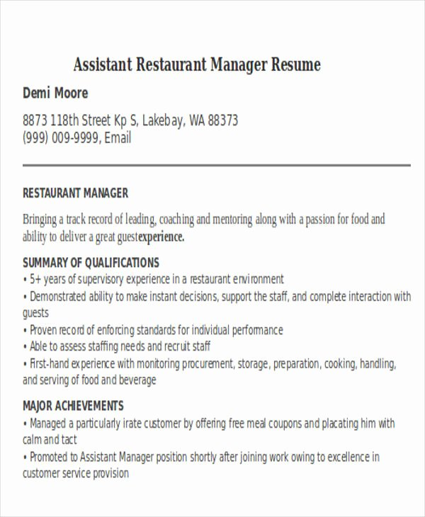 Restaurant Manager Resume Template New 32 Manager Resume Templates Pdf Doc