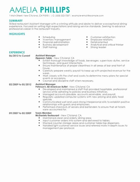 Restaurant Manager Resume Template New Best Restaurant assistant Manager Resume Example