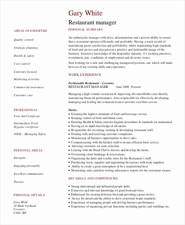 Restaurant Manager Resume Template New Restaurant Manager Resume Template 6 Free Word Pdf