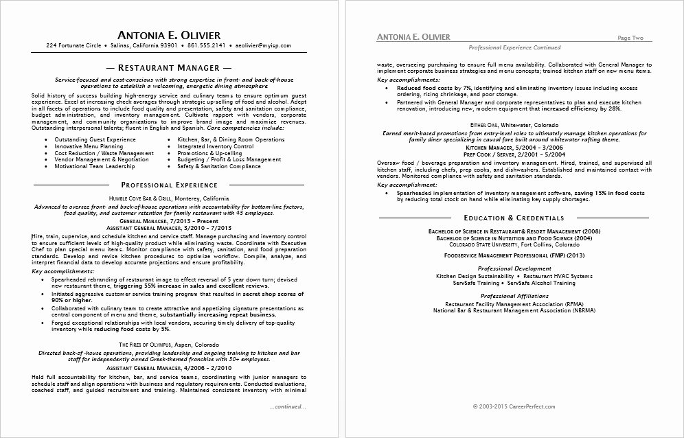Restaurant Manager Resume Template Unique Restaurant Manager Resume Sample