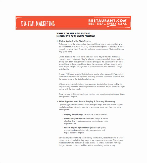 Restaurant Marketing Plan Template Inspirational 13 Restaurant Marketing Plan Template Free Pdf Word