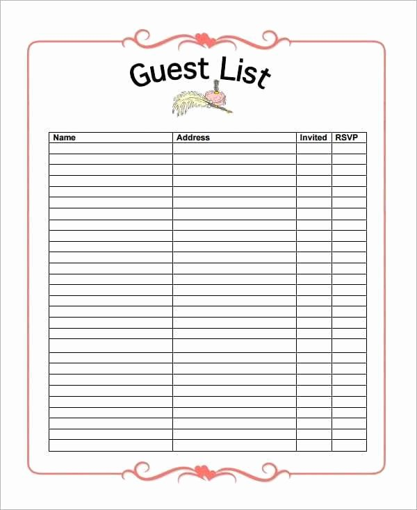 Restaurant Wait List Template Best Of 10 Party Guest List Templates Word Excel Pdf formats