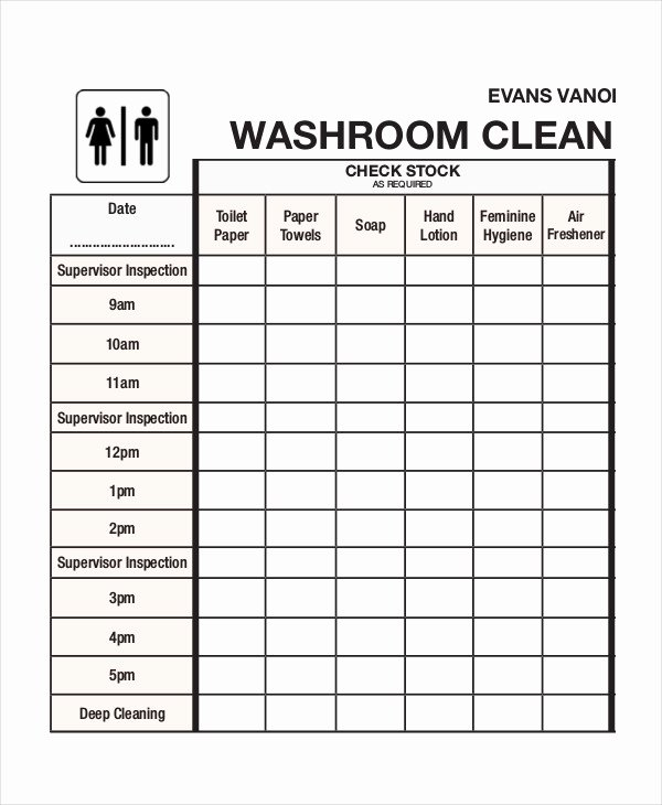 Restroom Cleaning Log Template Elegant Cleaning Roster Template 6 Free Word Pdf Documents