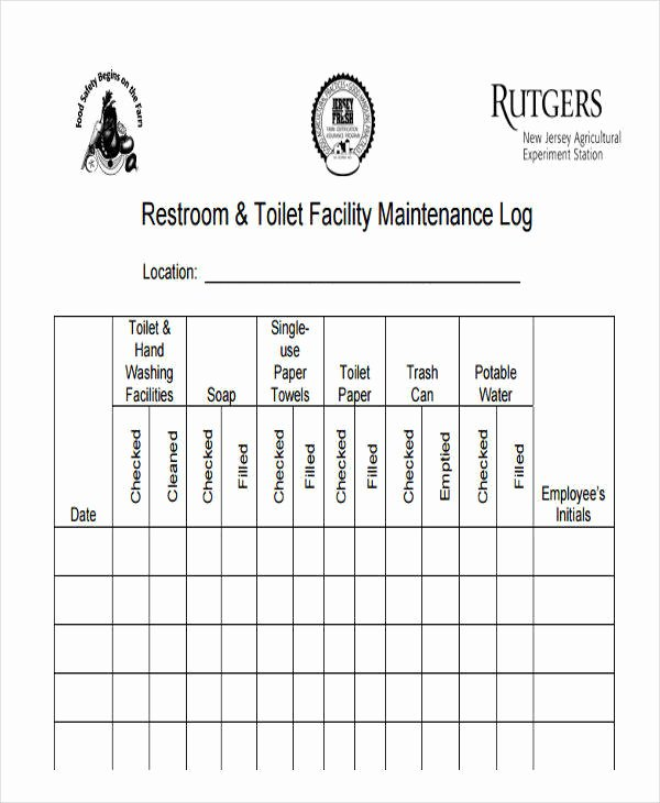 Restroom Cleaning Log Template Luxury 42 Log Templates