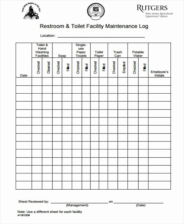 Restroom Cleaning Log Template Luxury 52 Printable Log Sheet Templates