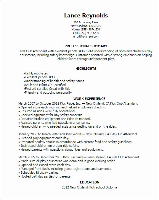 Resume Template for Kids Lovely Kids Club attendant Resume Template — Best Design & Tips