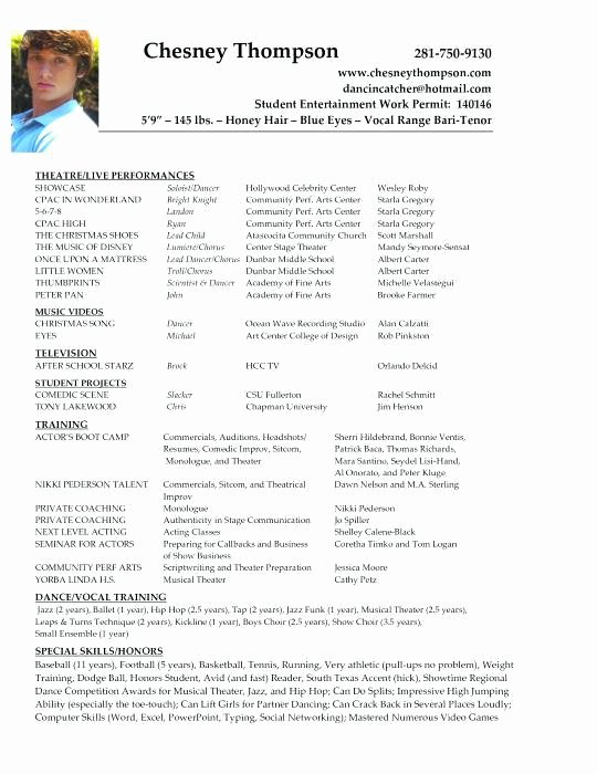 Resume Template for Kids New Resume Templates for Kids