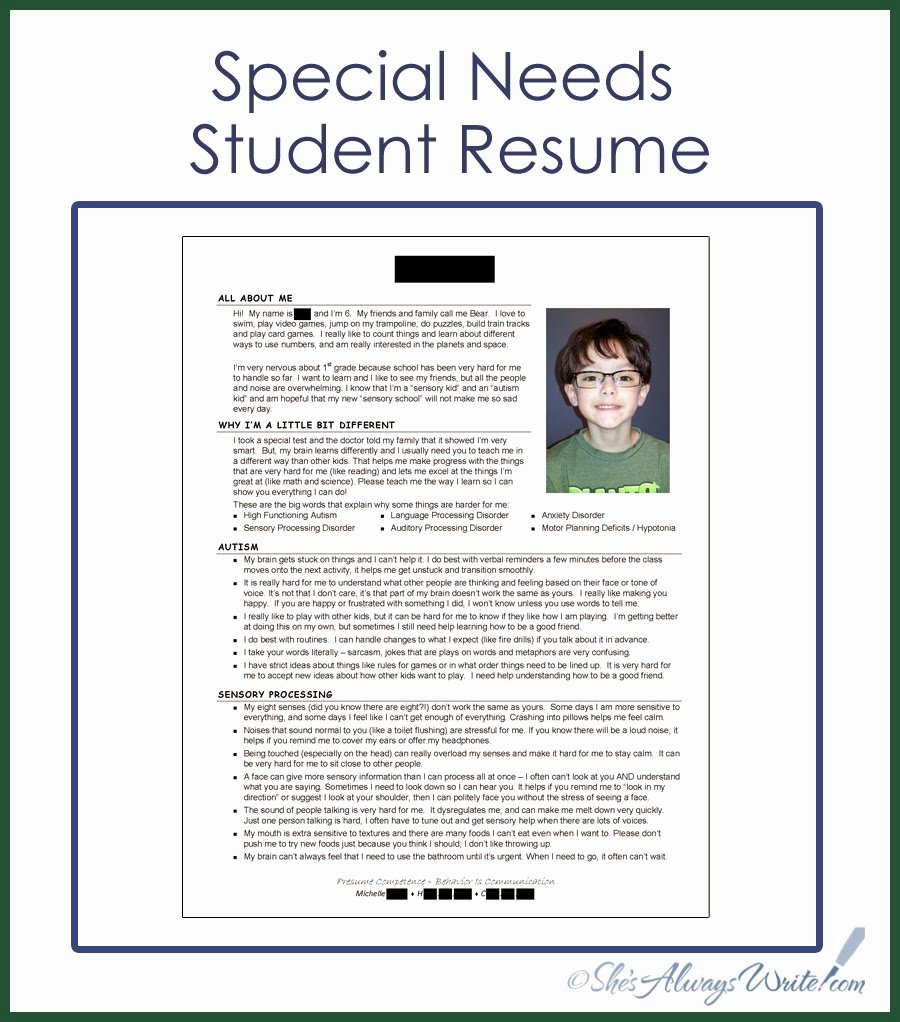 Resume Template for Kids New She S Always Write Special Needs Student Resume 2014 Update