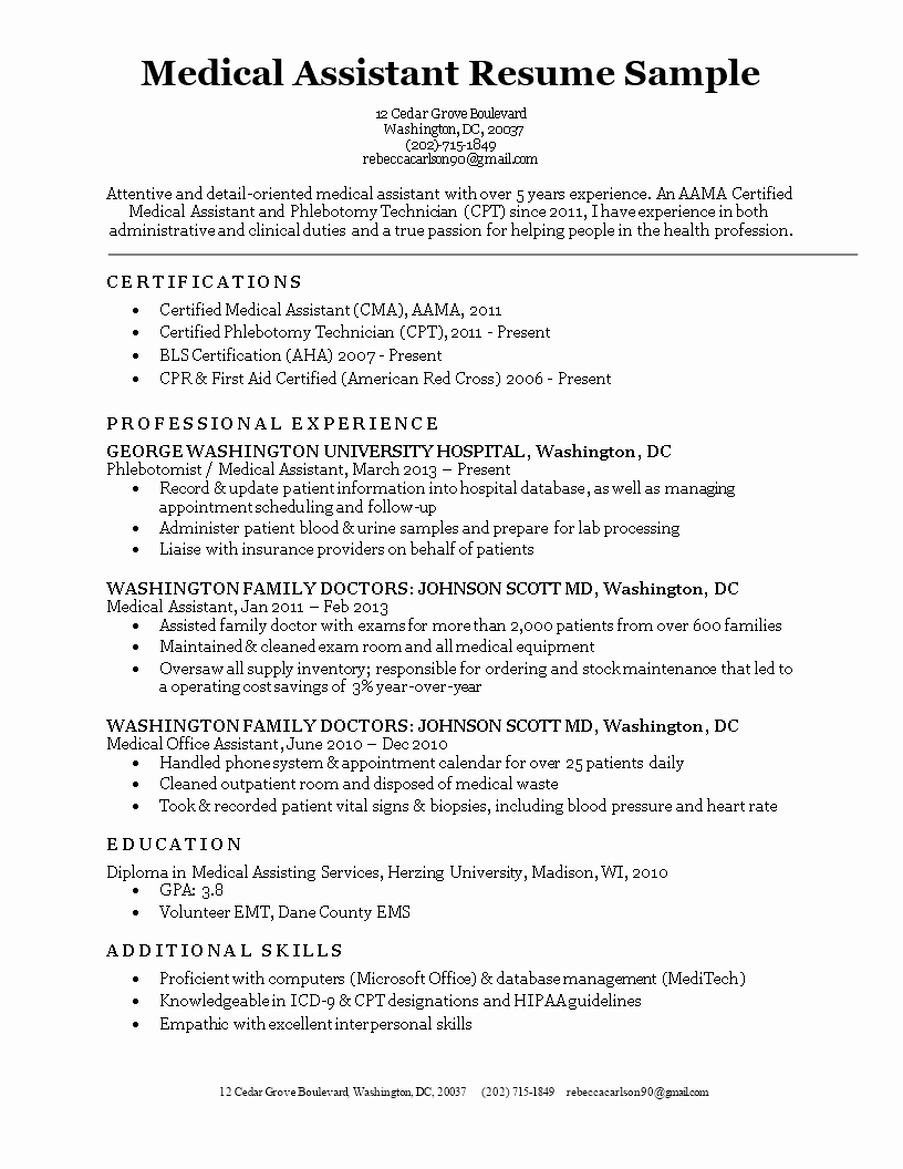 Resume Template Medical assistant Awesome Free Medical assistant Resume Sample