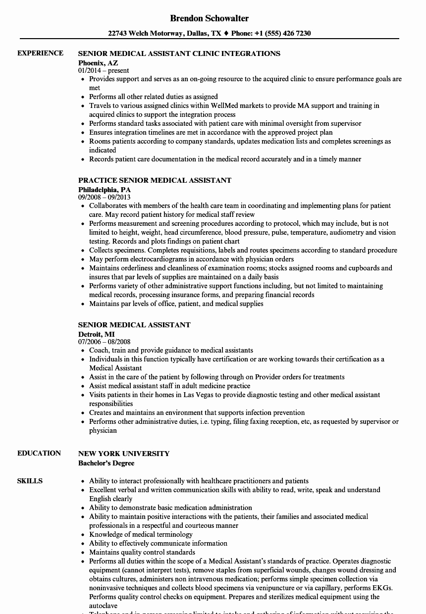 Resume Template Medical assistant Awesome Senior Medical assistant Resume Samples