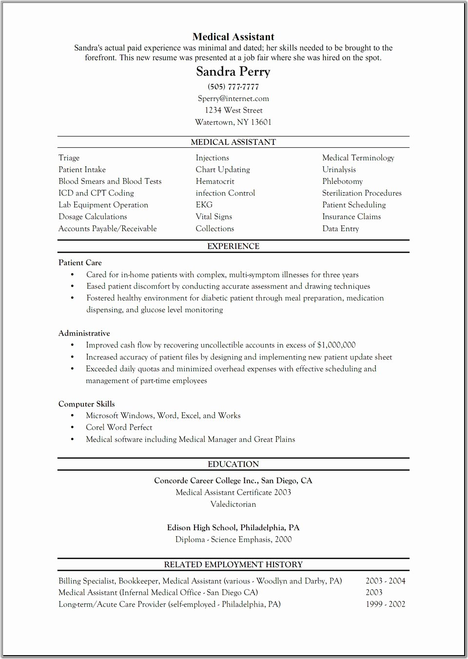 Resume Template Medical assistant Beautiful 10 Sample Resume for Medical Administrative assistant
