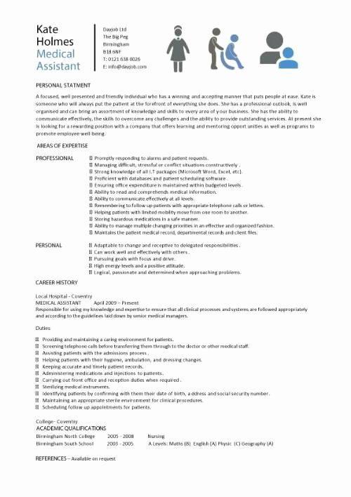 Resume Template Medical assistant Beautiful Medical assistant Sample Resume