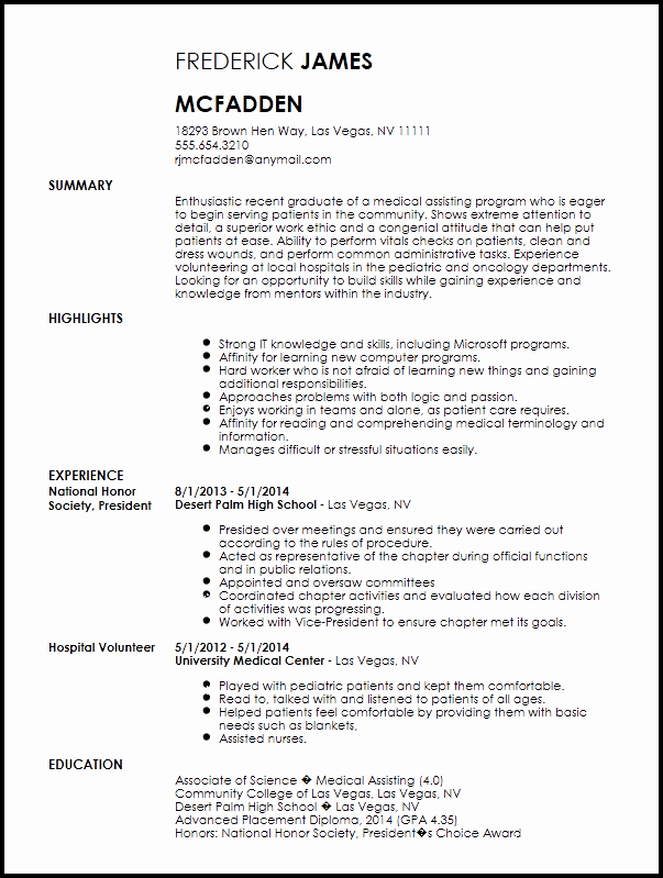 Resume Template Medical assistant Best Of Free Entry Level Medical assistant Resume Template