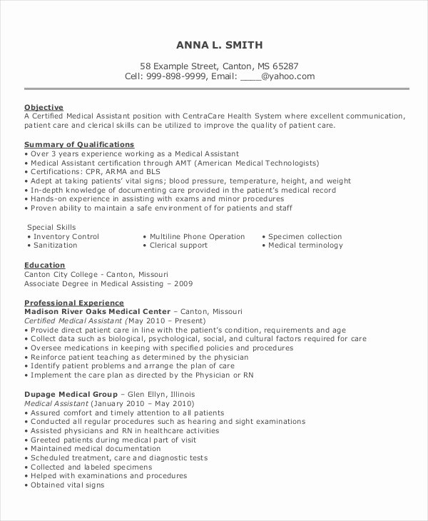 Resume Template Medical assistant Inspirational 10 Medical assistant Resume Templates Pdf Doc