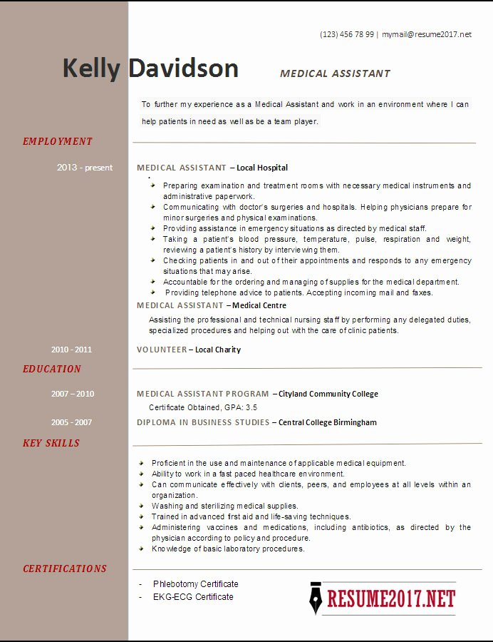 Resume Template Medical assistant Lovely top 6 Medical assistant Resume Templates 2017