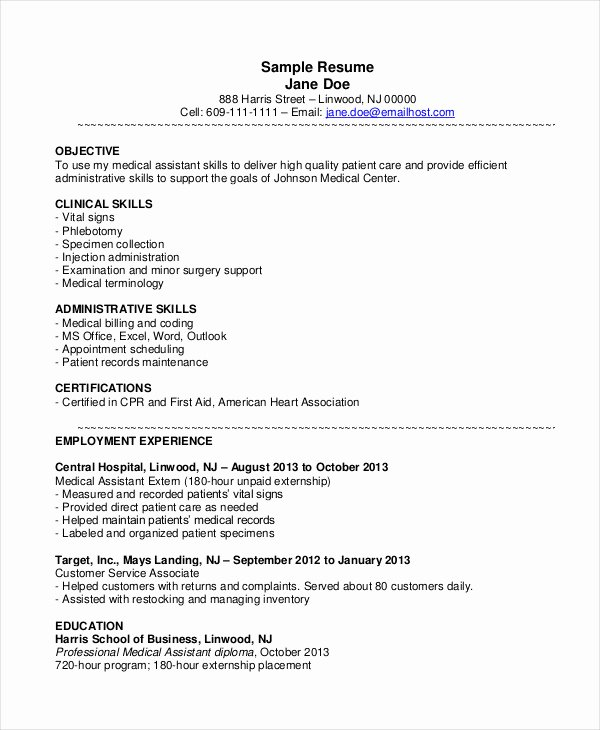 Resume Template Medical assistant New 10 Medical assistant Resume Templates Pdf Doc