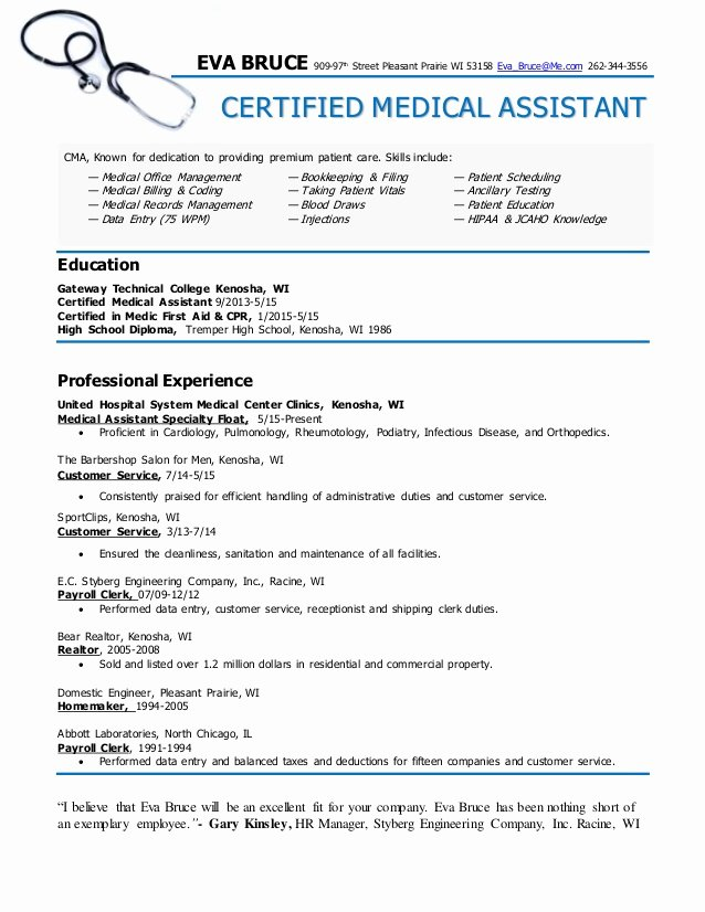 Resume Template Medical assistant New Certified Medical assistant Resume Eva Bruce
