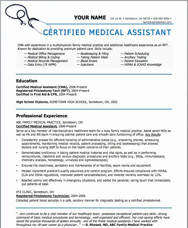 Resume Template Medical assistant New Sample Resumes for Medical assistant