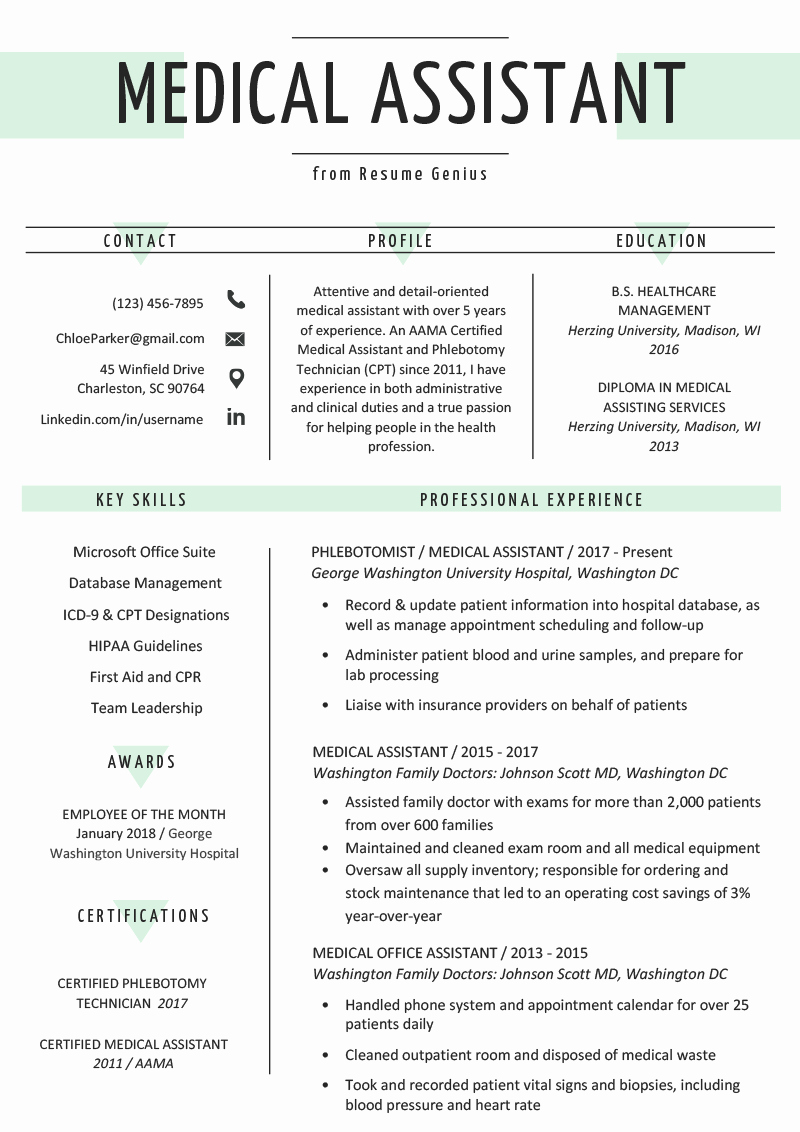 Resume Template Medical assistant Unique Medical assistant Resume Sample & Writing Guide