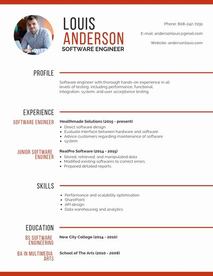 Resume Template software Engineer Best Of Customize 67 Professional Resume Templates Online Canva