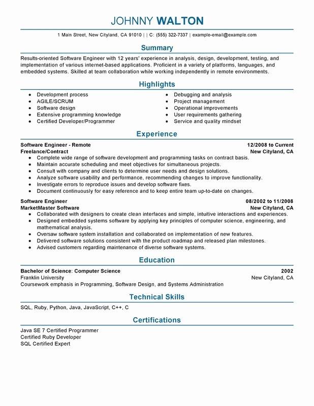 Resume Template software Engineer Elegant Remote software Engineer Resume Examples – Free to Try