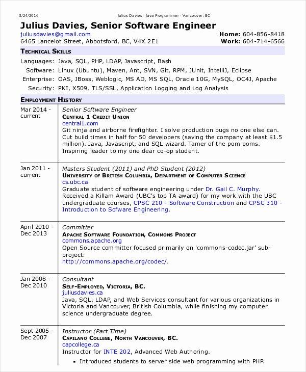 Resume Template software Engineer Fresh software Engineer Resume Example 10 Free Word Pdf