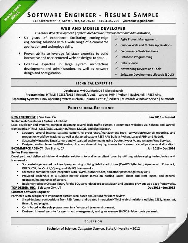 Resume Template software Engineer Fresh software Engineer Resume Example & Writing Tips