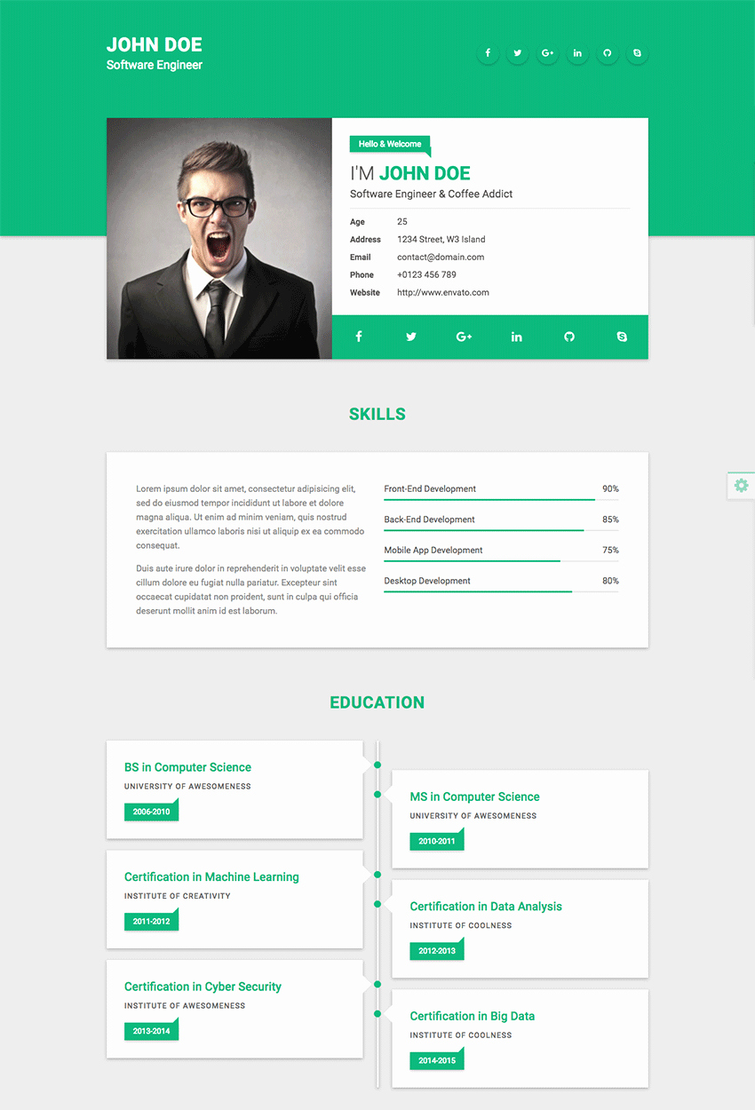 Resume Website Template Free Beautiful 18 Best HTML Resume Templates for Awesome Personal
