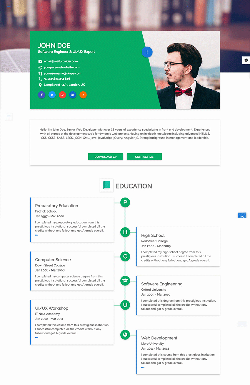 Resume Website Template Free Elegant 18 Best HTML Resume Templates for Awesome Personal
