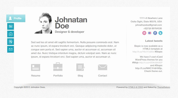 Resume Website Template Free Fresh 41 HTML5 Resume Templates Free Samples Examples format