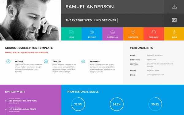 Resume Website Template Free Fresh Gridus Vcard Cv Resume Portfolio