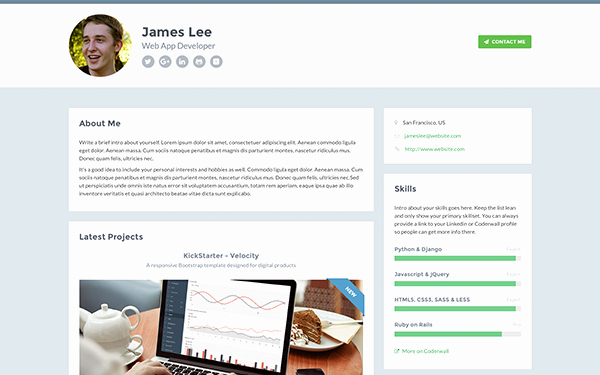 Resume Website Template Free Fresh Resume Website Template Github Free Responsive Website