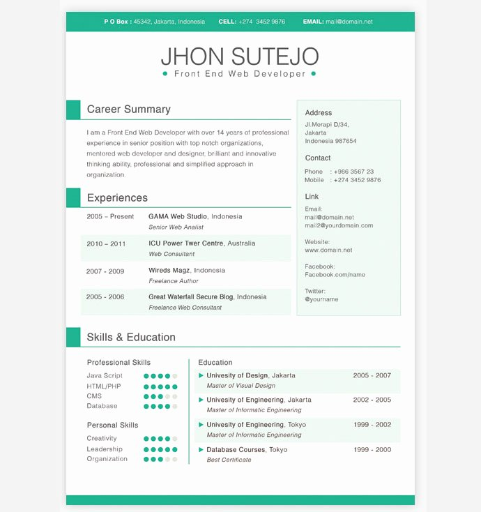 Resume Website Template Free Lovely 28 Free Cv Resume Templates HTML Psd & Indesign – Web