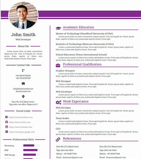 Resume Website Template Free New Free Personal Profile Resume HTML Website Template
