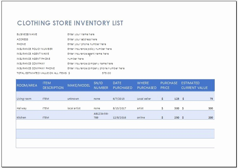 Retail Inventory Excel Template Beautiful Clothing Store Inventory List Template