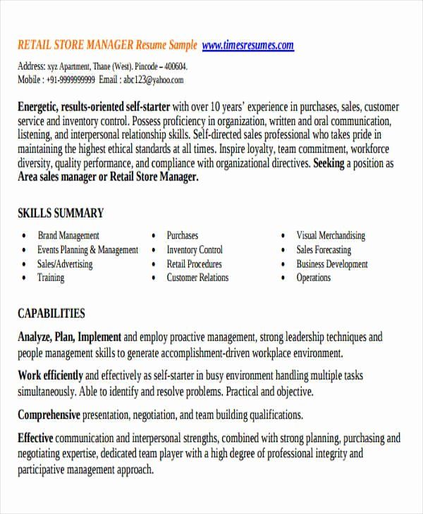 Retail Manager Resume Template Awesome 32 Manager Resume Templates Pdf Doc