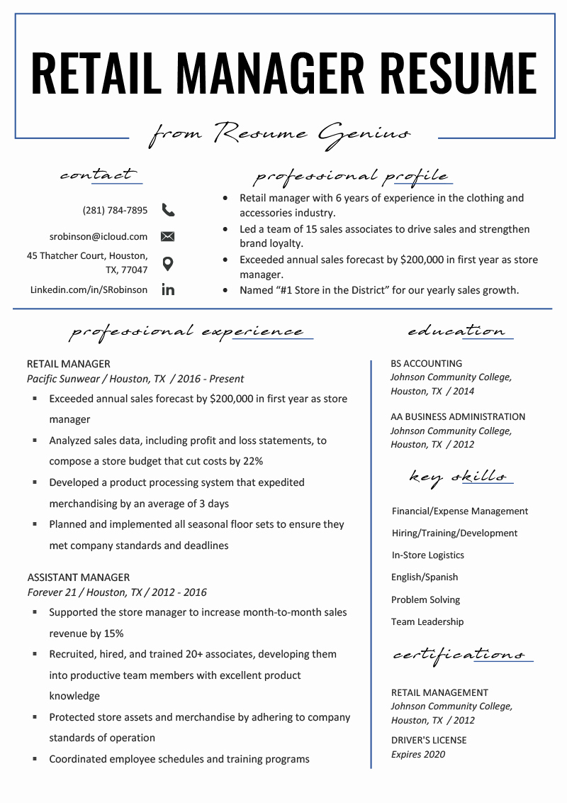 Retail Manager Resume Template Awesome Retail Manager Resume Example & Writing Tips