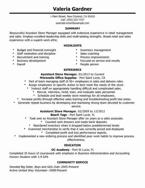Retail Manager Resume Template Fresh Best Retail assistant Store Manager Resume Example
