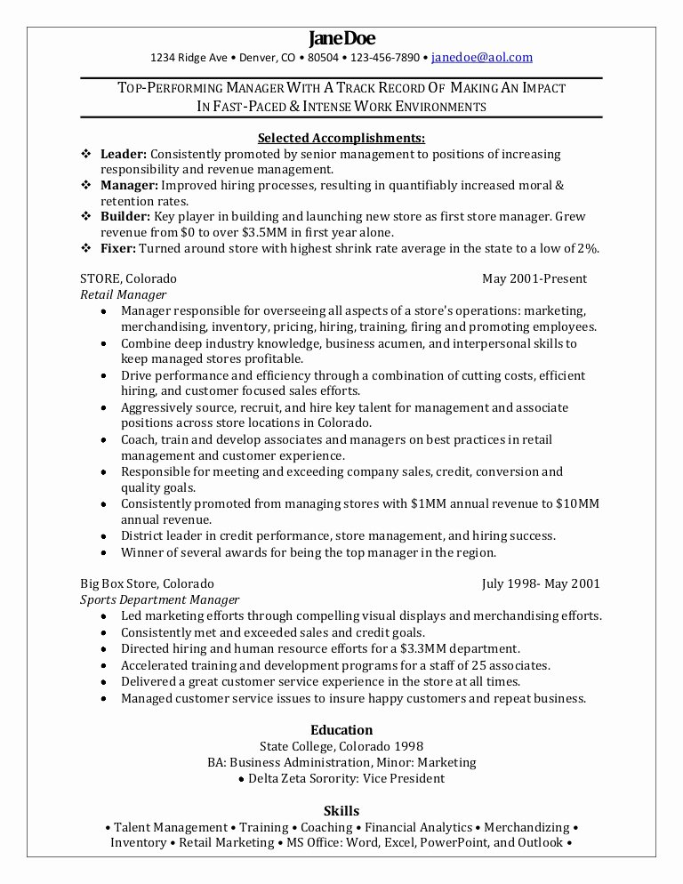 Retail Manager Resume Template Inspirational Retail Manager Sample Resume