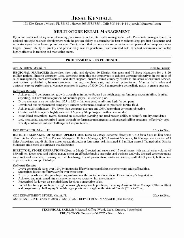 Retail Manager Resume Template Inspirational Retail Sales Resume Examples Google Search