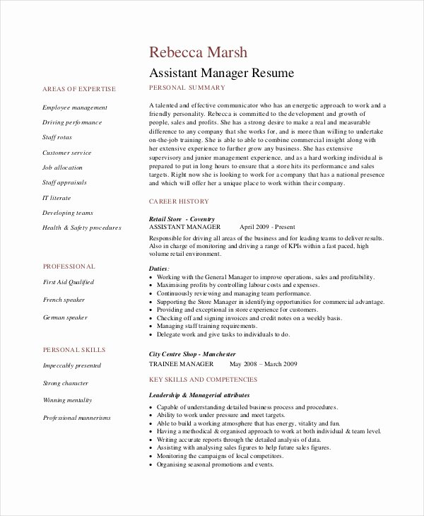 Retail Manager Resume Template Luxury 8 Retail Manager Resumes Free Sample Example format