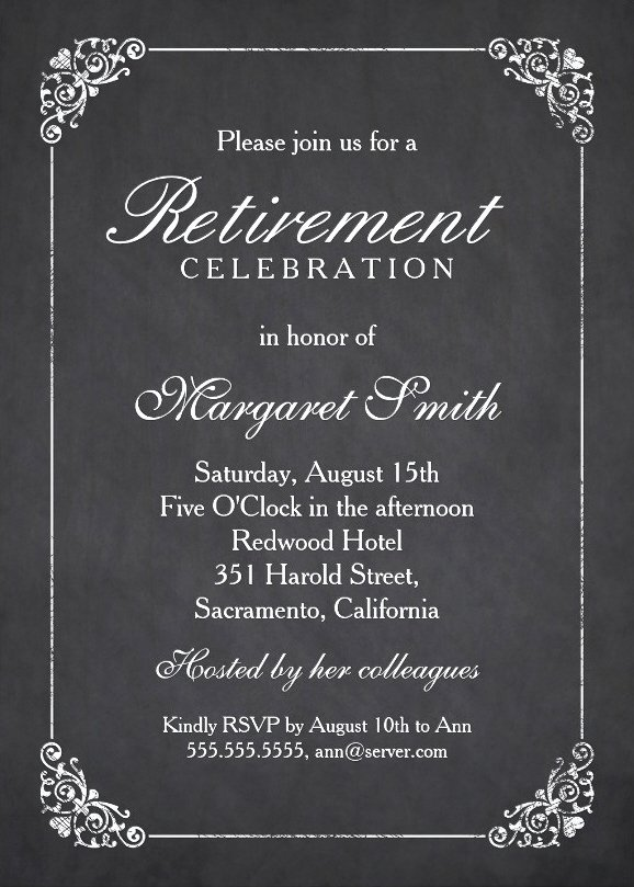 Retirement Invitations Template Free Awesome Elegant Chalkboard Retirement Party Invitation Template