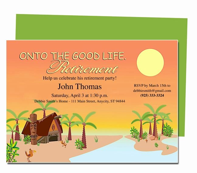 Retirement Invitations Template Free Fresh Retirement Templates Tropicana to the Good Life
