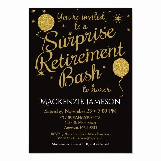 Retirement Party Invitation Template Beautiful Surprise Retirement Party Invitation Gold Balloons