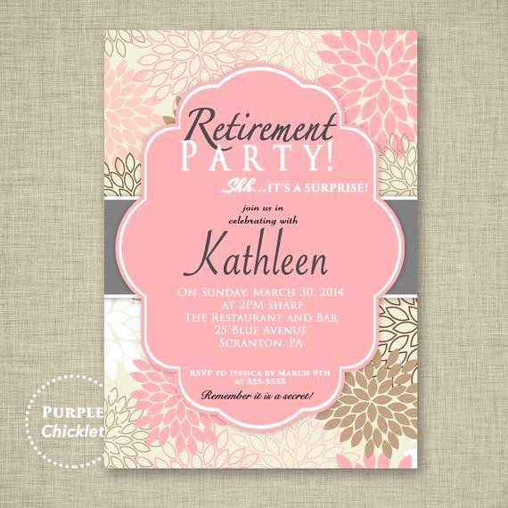 Retirement Party Invitation Template Luxury Surprise Retirement Party Invitation Pink Adult Surprise Party