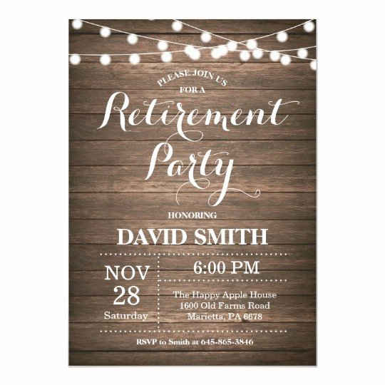 Retirement Party Invitation Template New Rustic Retirement Party Invitation Card