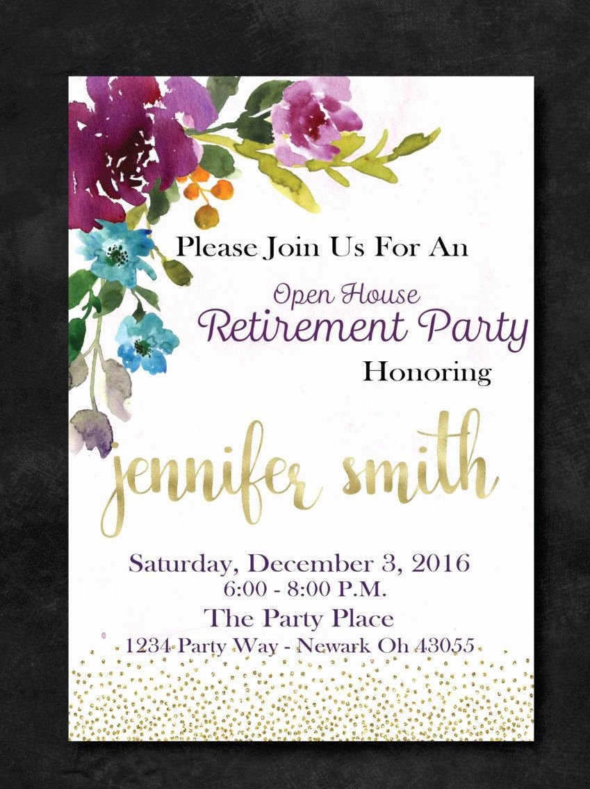 Retirement Party Invitations Template Fresh Retirement Party Floral Invitation Purple and Gold