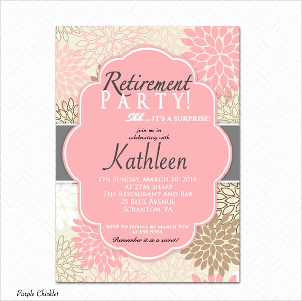 Retirement Party Invite Template Awesome 9 Surprise Party Invitation Free Sample Example