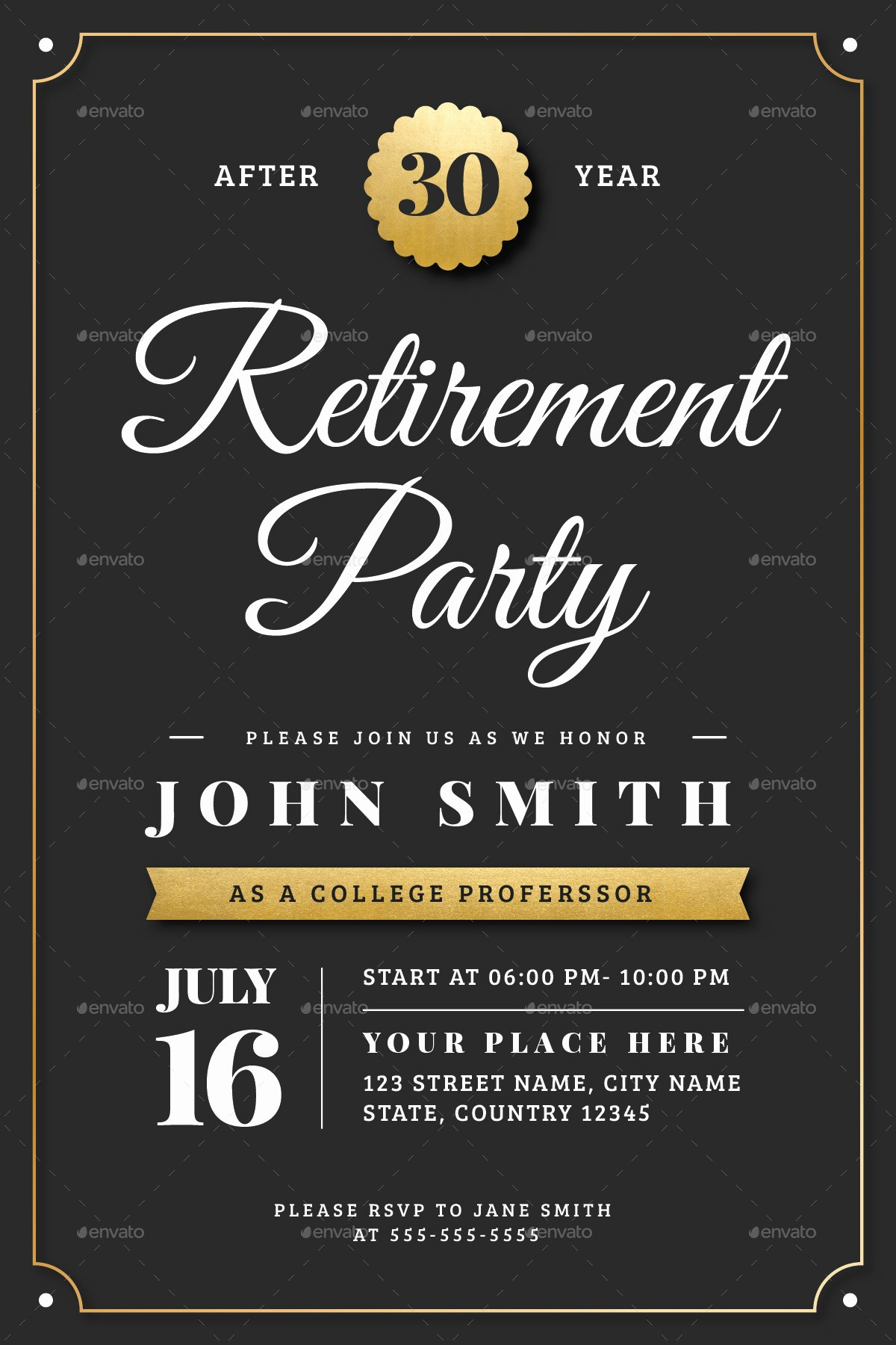 Retirement Party Invites Template Best Of Gold Retirement Invitation Flyer Templates by Vector