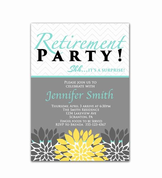 Retirement Party Invites Template New Surprise Retirement Party Invitation Blue Yellow by
